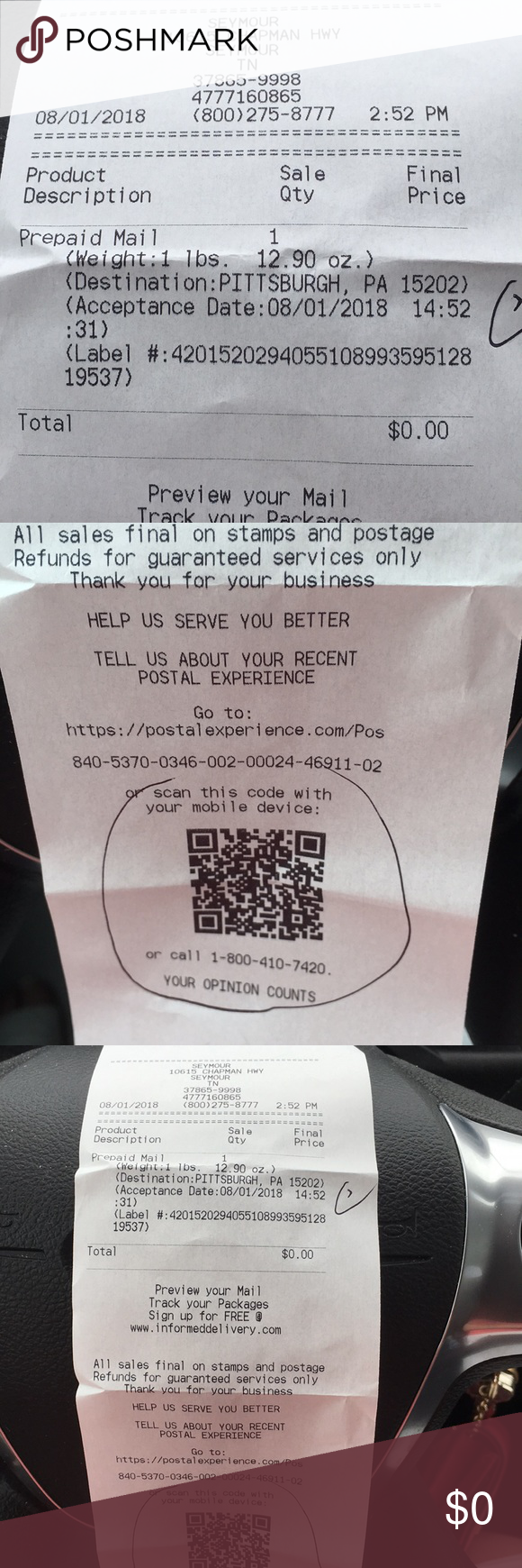 USPS SCAN This is the receipt for the Miller Bag I just sold