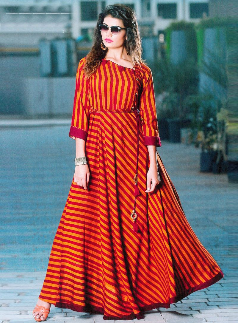 Orange rayon readymade gown kurtas pinterest gowns