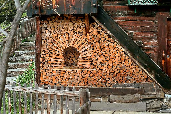 These People Turned Log Piling Into An Art Form. Firewood StorageUnique ...
