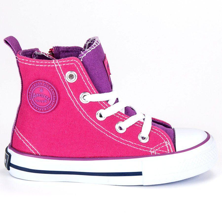 870acce4 #Buty sportowe dziecięce #Dla dzieci #AmericanClub #Różowe #Trampki #Nad  #Kostkę #American #American #Club