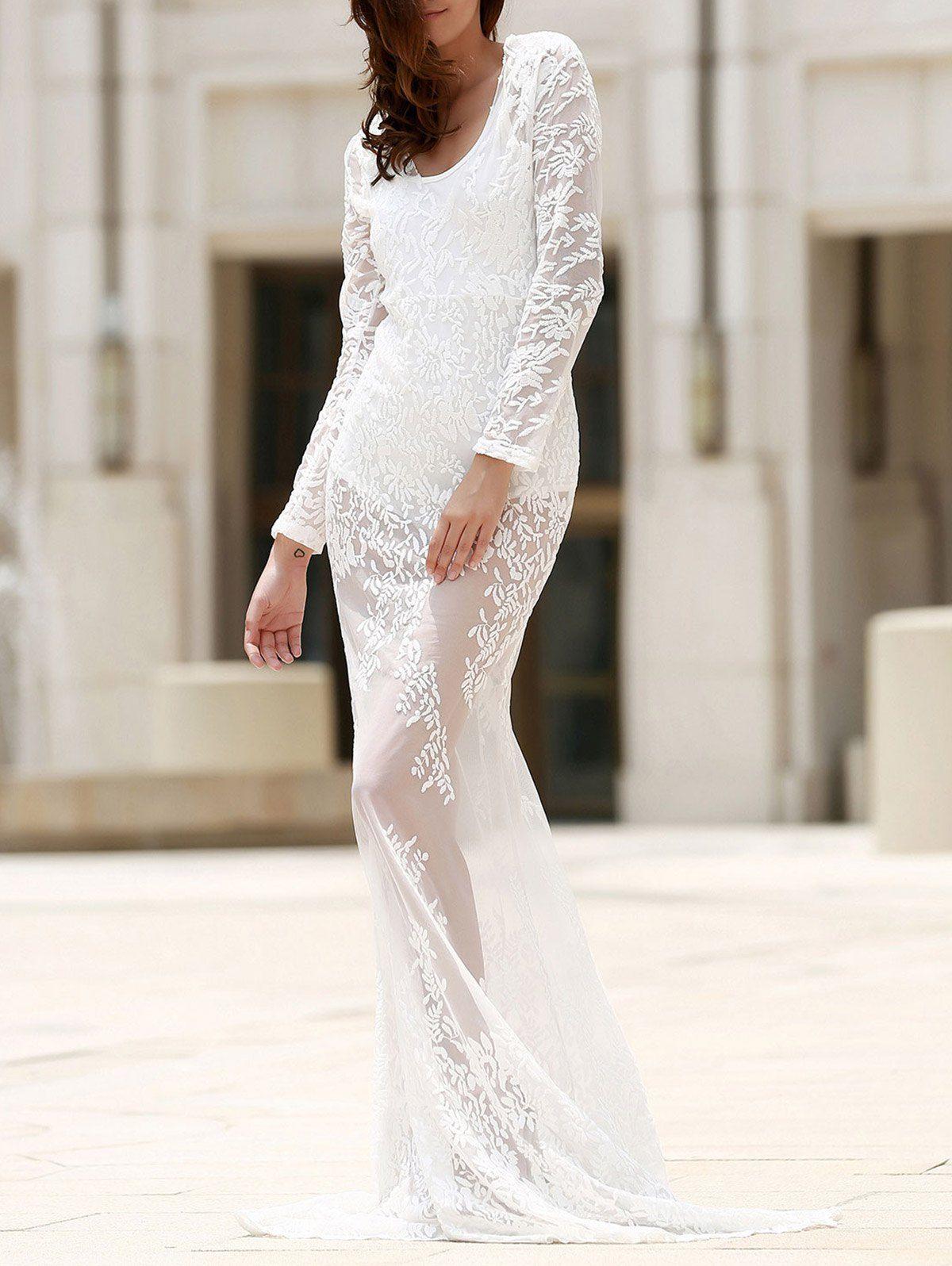 Maxi Sheer Lace Prom Dress WHITE: Maxi Dresses | ZAFUL