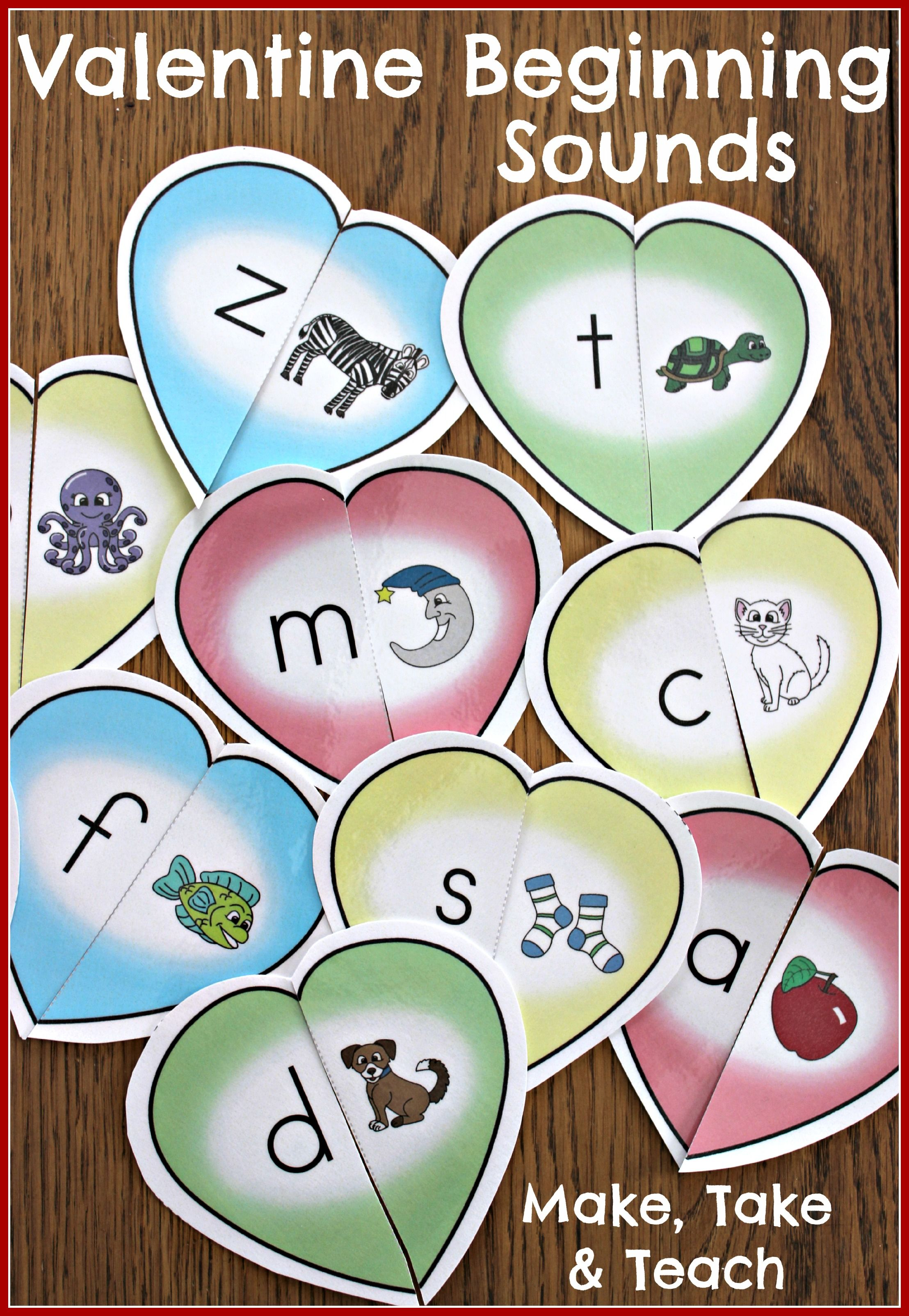Valentine Hearts for Beginning Sounds. Fun hands-on activity for learning letters and sounds.