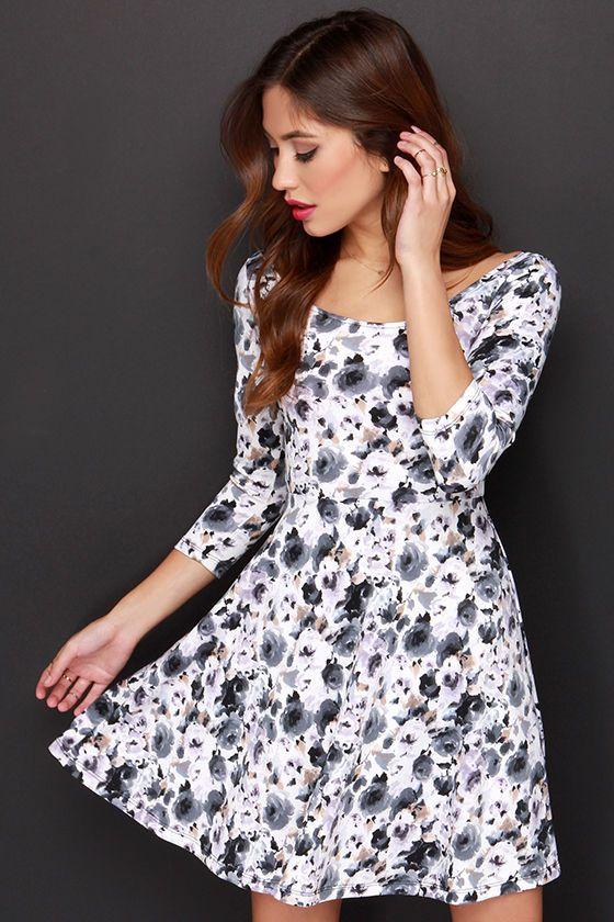 Very Impressed Grey Floral Print Dress