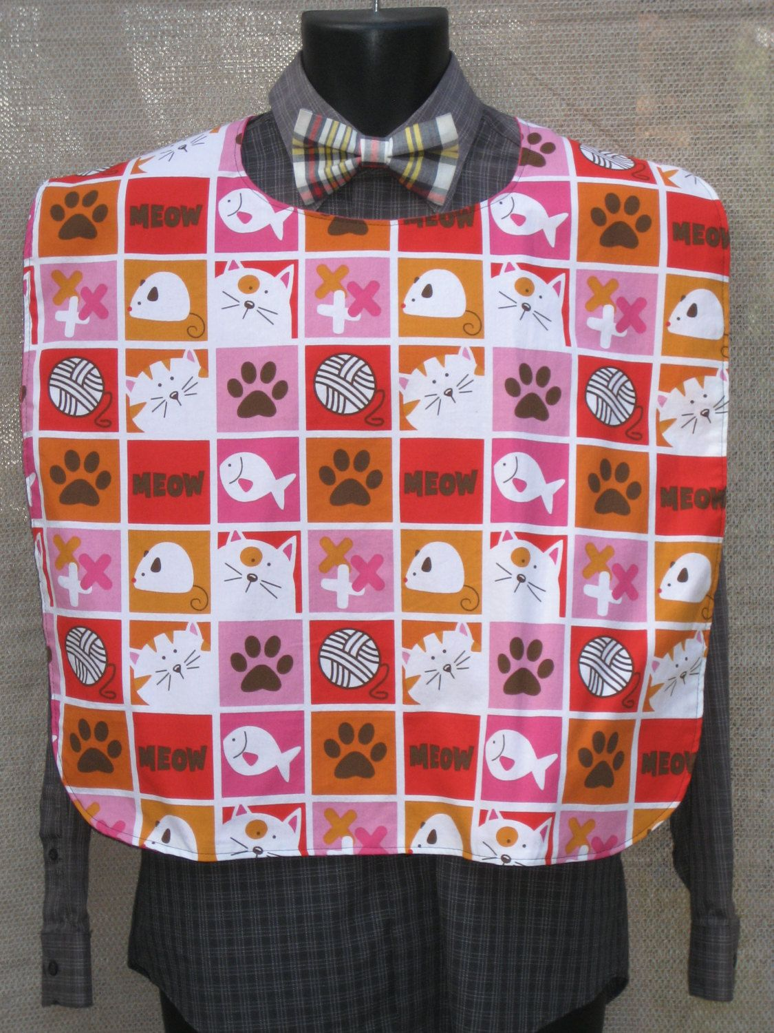Block Cats Meow on Adult Bib XL by Tammysaprons on Etsy