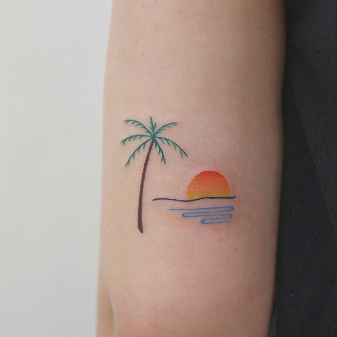 Sunset Palm Trees Beautiful Small Tattoos Tattoos Meaningful Tattoos For Women