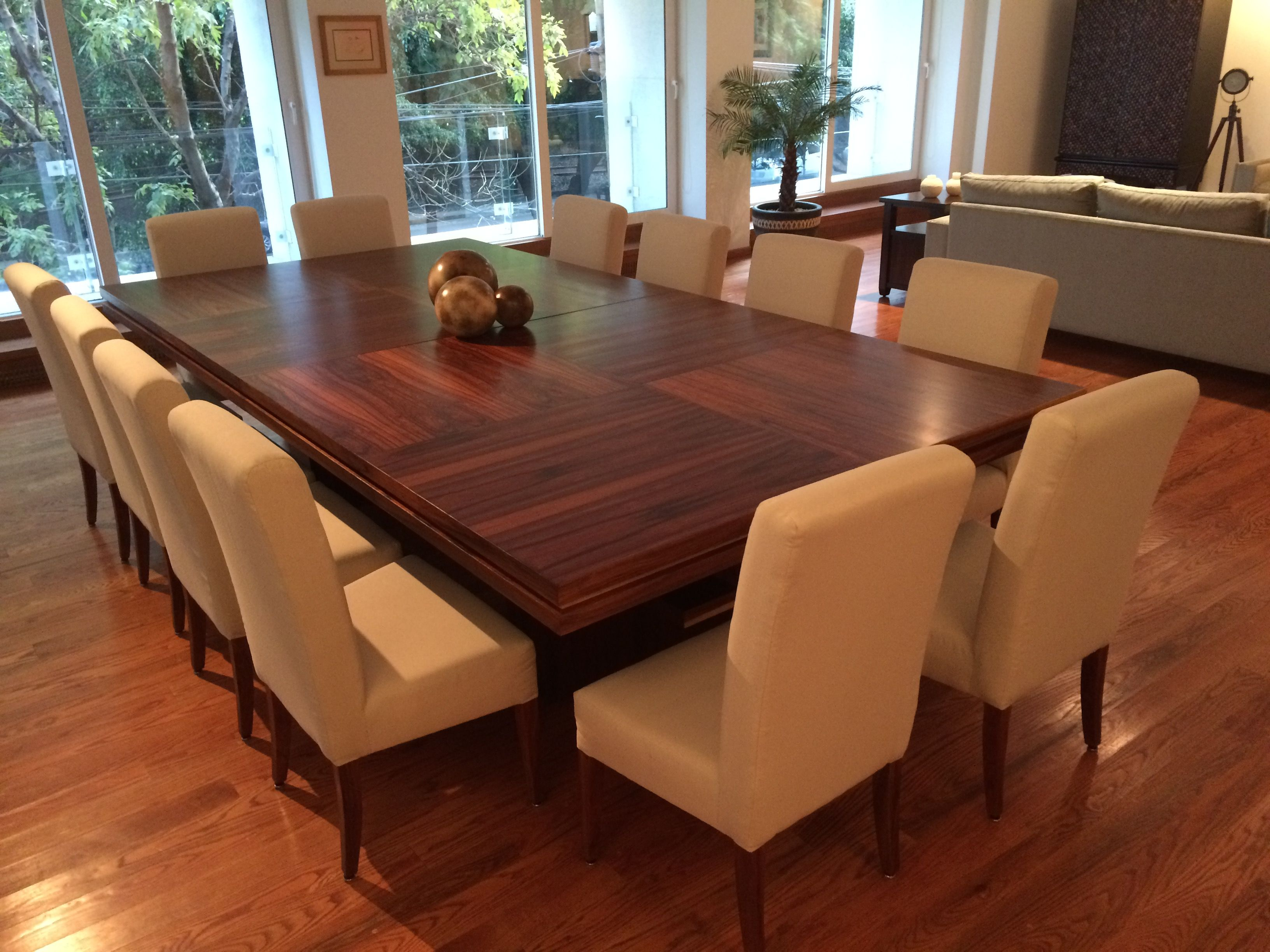 Large Dining Room Table Seats 12 With Decoration In Wood Floors Also The  Design Of The White Dining Chairs And Plant Decoration Design With Large  Dining ...