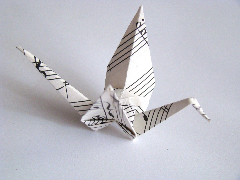 Photo of Recycelte Noten Origami Cranes – 5er Set