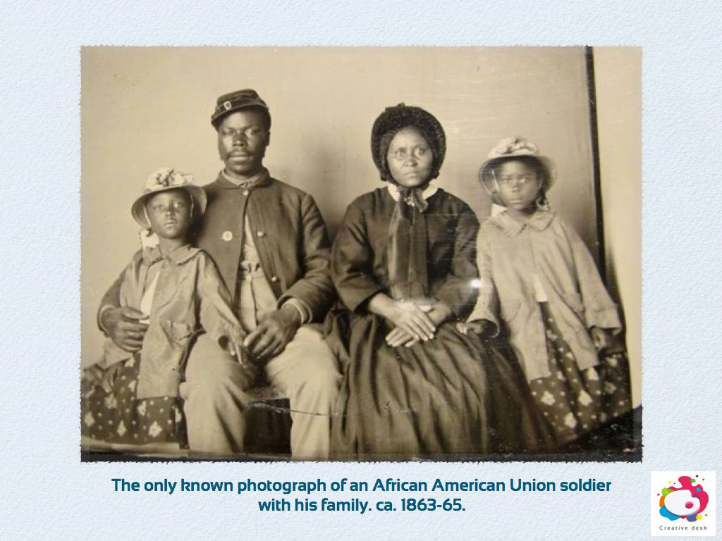 The only known photograph of an African American Union soldier with his family. ca. 1863-65.