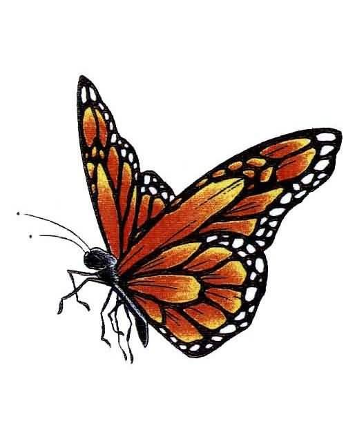And Nice One Flying Monarch Butterfly Tattoo Design On ...