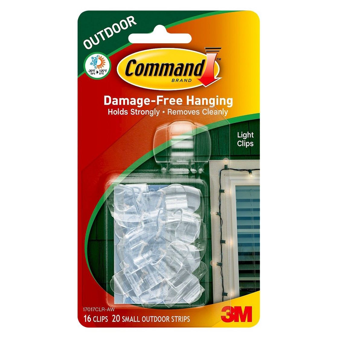 Command 16 Clips 20 Strips Outdoor Light Clips With Foam All Weather Strips Decorative Hooks Clear With Images Exterior Christmas Lights