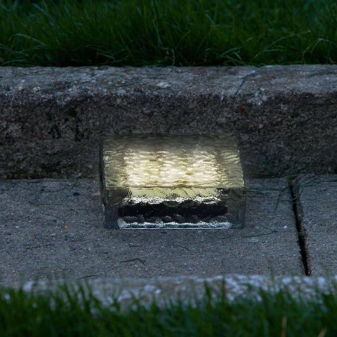 Iced 6x6 Solar Brick Light Warm White Brick Pavers Solar Lights Landscape Lighting
