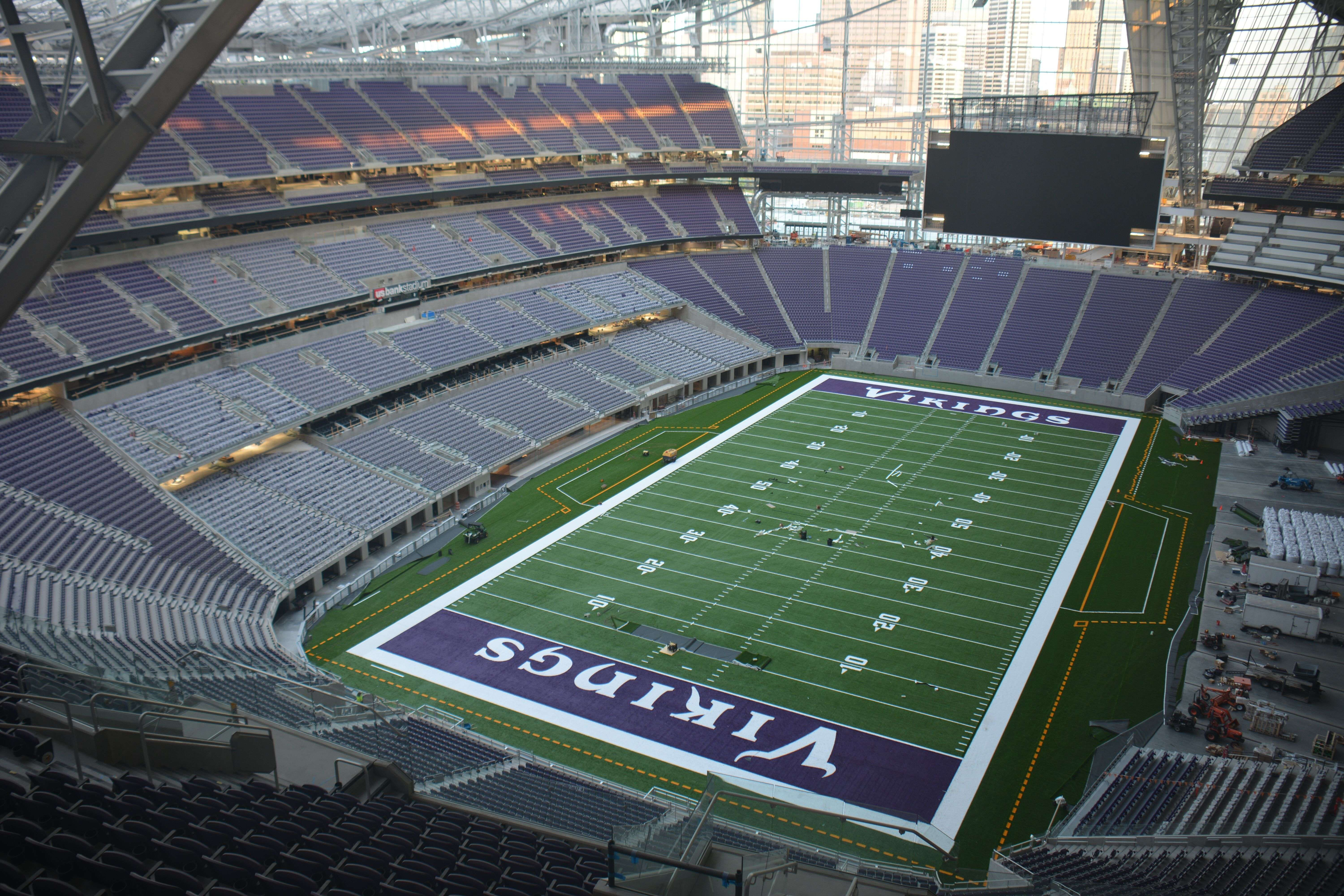 Exterior: Field Installation Now Complete At US Bank Stadium.