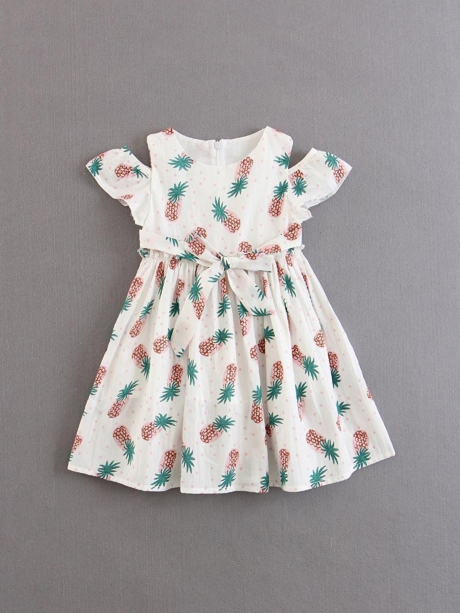e42c73d8ab11 Kids Pineapple Print Frill Dress -SheIn(Sheinside)