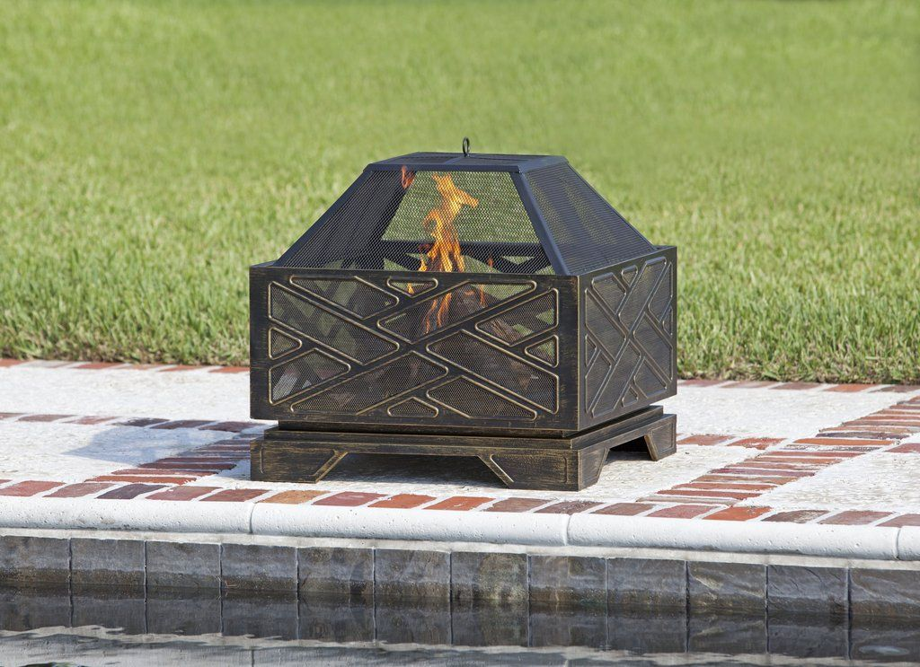Fire sense 26 catalano square fire pit with spark screen