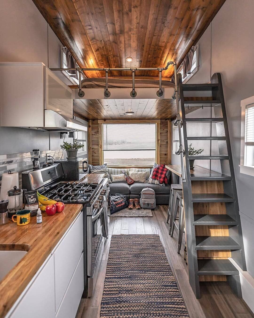 Tiny House Hunter On Instagram This Is The Perfect Tiny House Interior Love The Neutral Col Modern Tiny House Tiny House Design Tiny House Inspiration