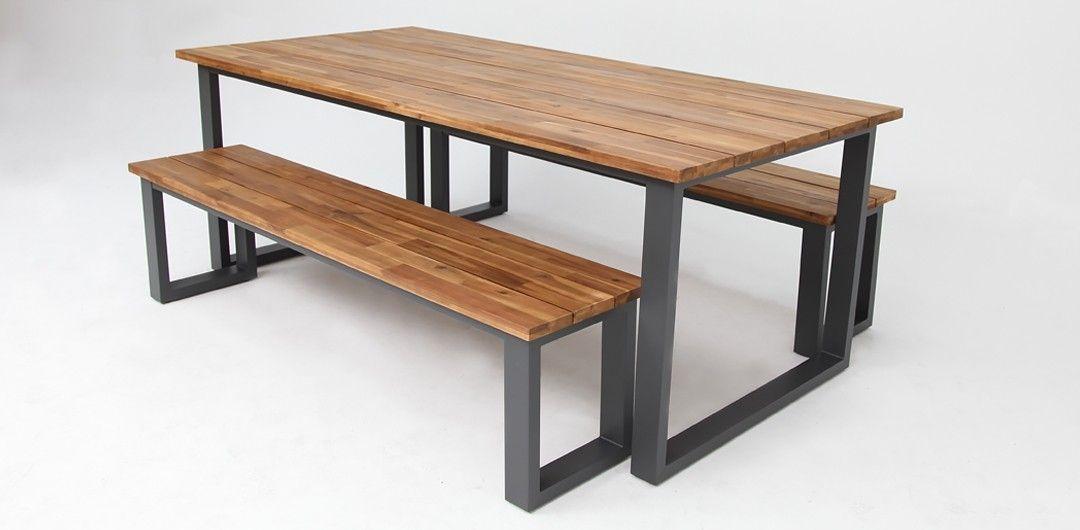 Pleasant Richmond 3 Piece Table And Bench Setting Gunmetal Outdoor Creativecarmelina Interior Chair Design Creativecarmelinacom