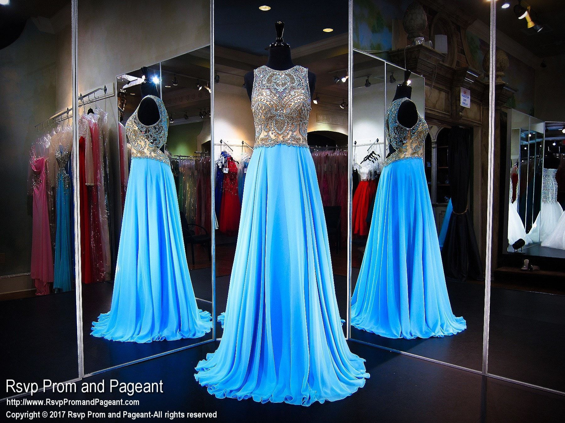 Pool High Neckline Bead Encrusted Prom Dress