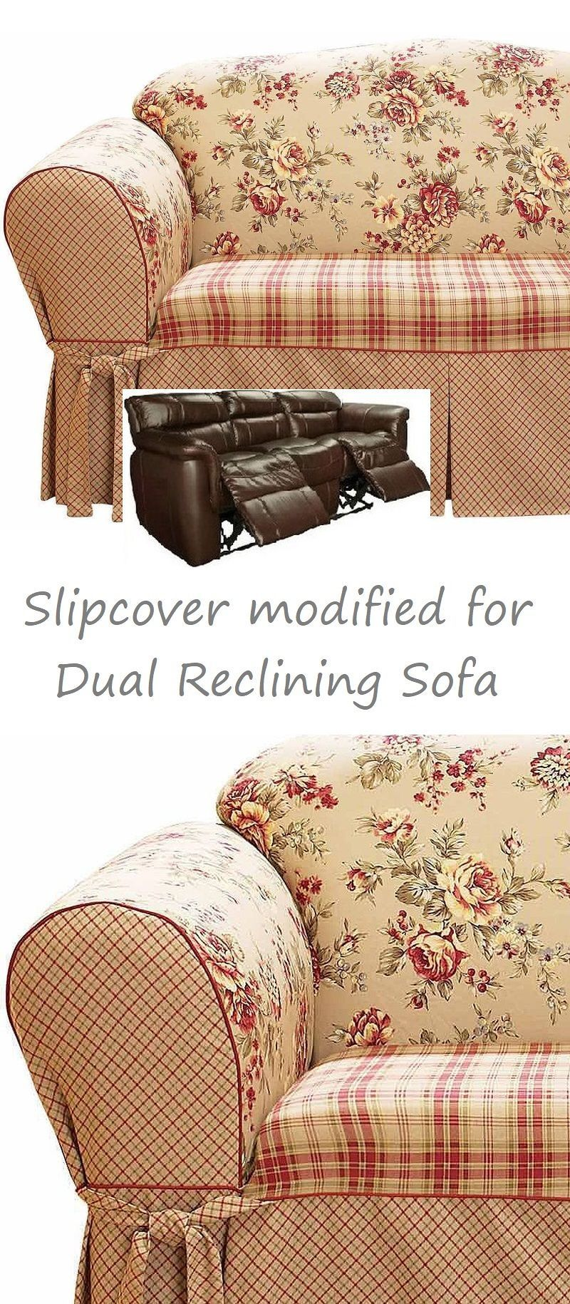 Dual Reclining SOFA Slipcover Shabby Toile Red Sure Fit ...