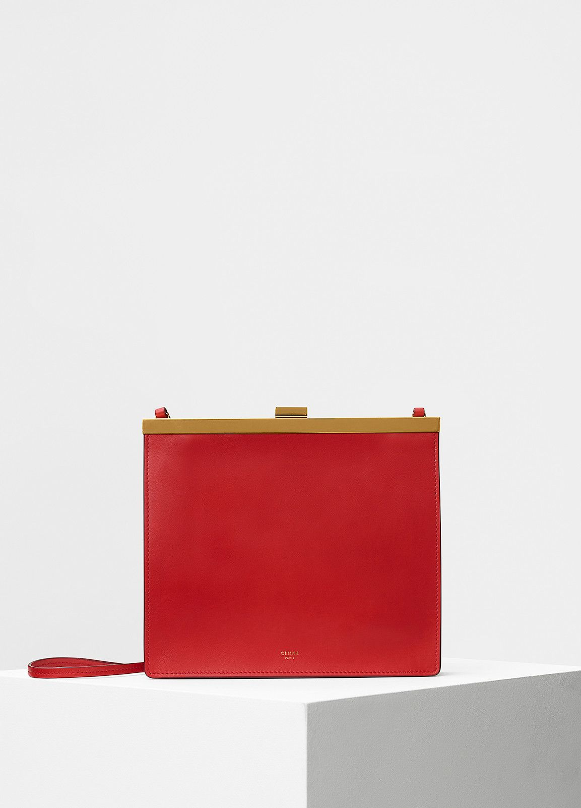 CÉLINE - Mini Clasp Shoulder Bag in Scarlet Natural Calfskin  a10513de907e0