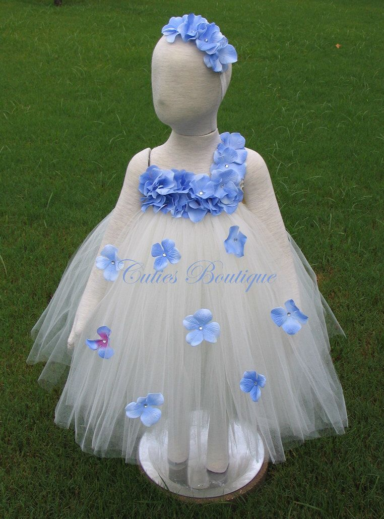 Ivory Dress With Periwinkle Hydrangea Fower Wedding Picture Prop 6 12 18 24 Month 2t 3t 4t 5t Flower Tutu By
