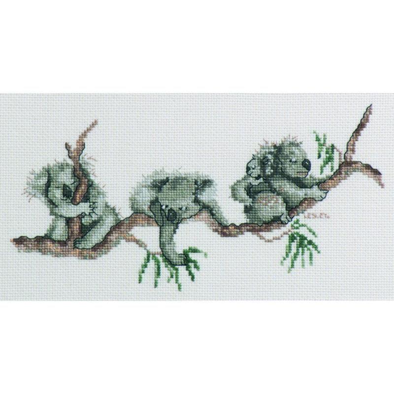Craft boutique koalas cross stitch kit by lesley suzanne