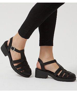 0a9f584e4cb Black Chunky Caged T-Bar Sandals
