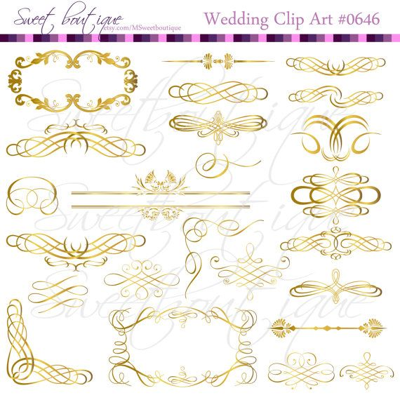 GOLD Vintage Digital Frames Calligraphy Clip Art by MSweetboutique, $5.99