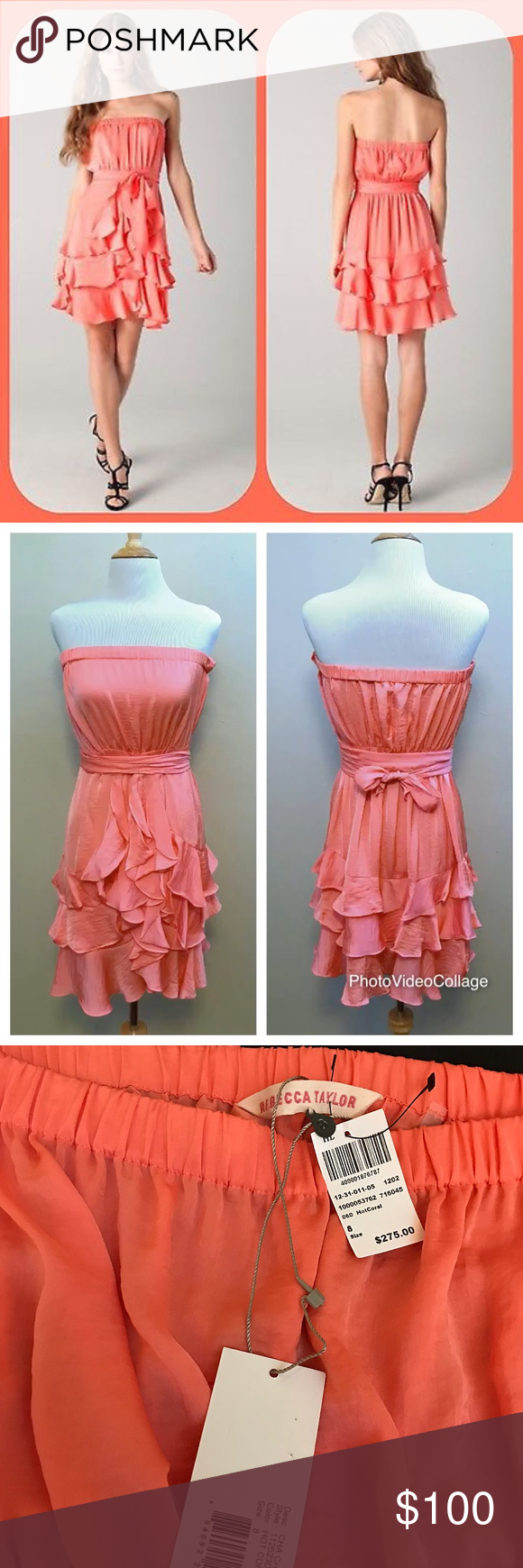 Hot pink and orange dress  NWT Rebecca Taylor Silk Ruffle Dress Hot Coral NWT  Cha cha