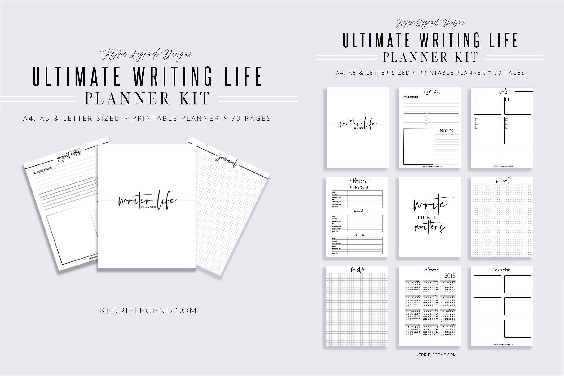 Ultimate Writer Life Planner Kit by Kerrie Legend Designs on