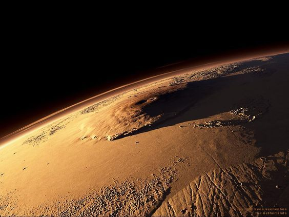 Olympus Mons, Mars. 342 miles wide at it's base and 88,600 feet tall (16.7 miles tall):
