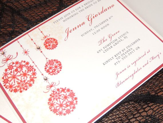 Christmas Wedding Invitation Holiday Red And White