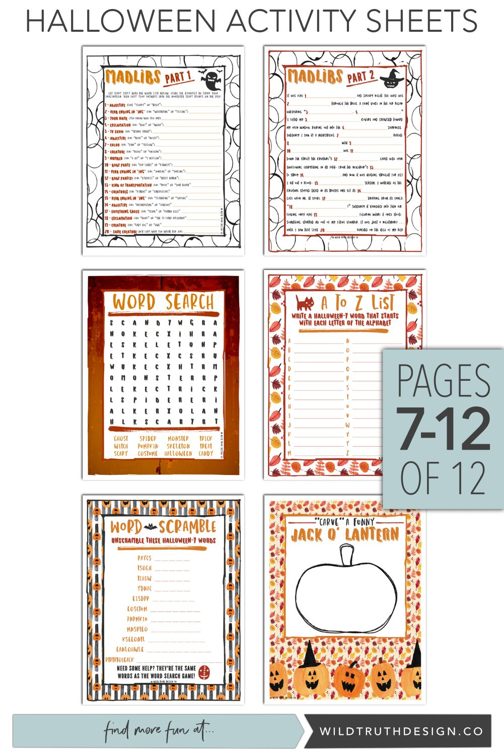 Kids Halloween Activity Pages - Printable - 12 Sheets [#H104 ...