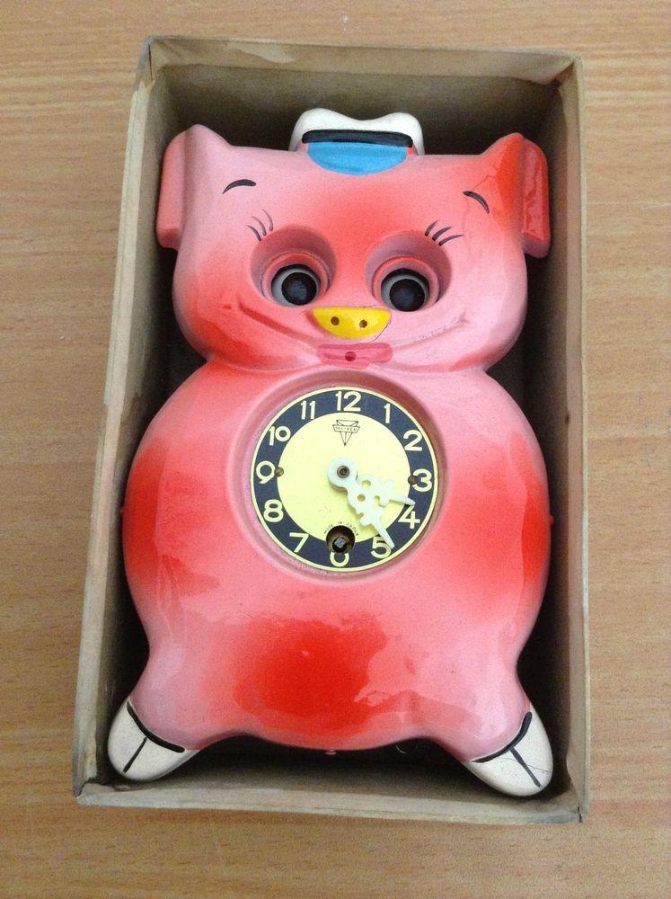 Vintage 1960's Pendulum Animal RED DOG Clock MIKEN MI KEN
