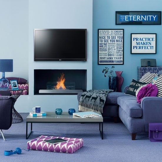 Modern Blue Living Room This Modern Living Room Uses Tones Of Blues And  Purples To Create Gallery