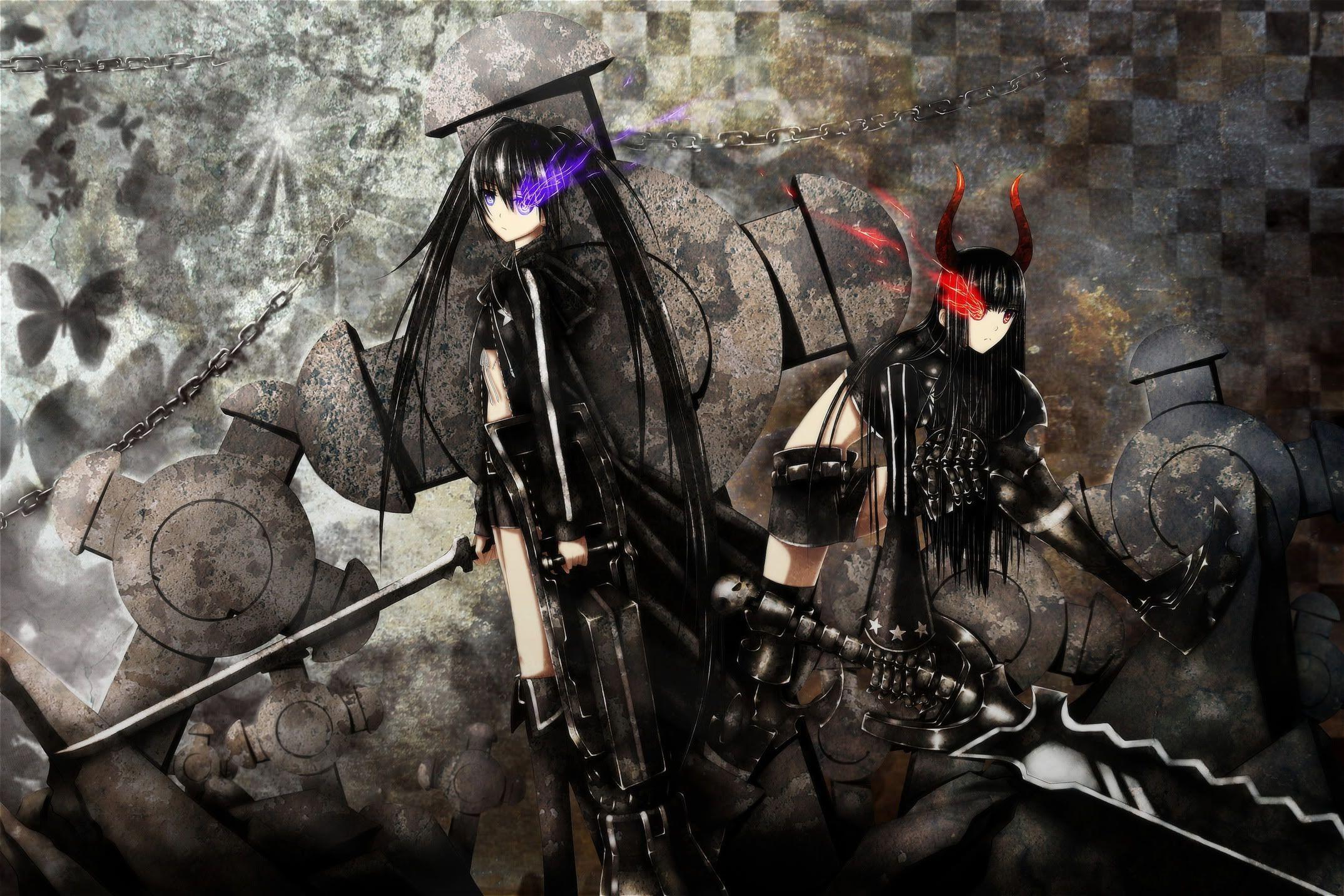 Anime Black Rock Shooter Black Rock Shooter Ova Anime Badass Girl Weapon Sword Black Rock Shooter Anime Wolf Girl Anime Wallpaper