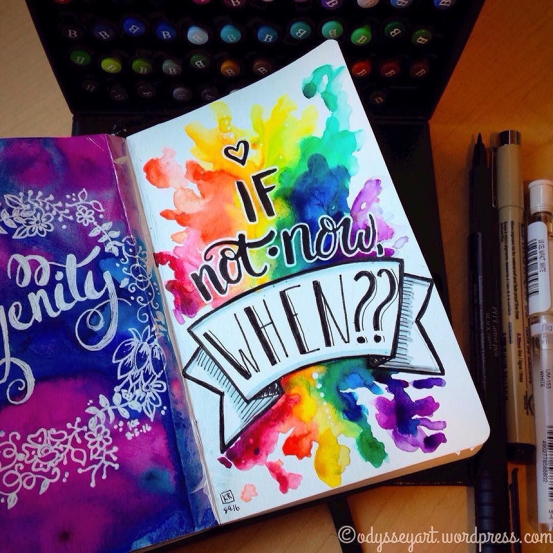 "Kelly Roy on Instagram: ""If not now, when?  A little watercolor, hand lettering and brush calligraphy thrown in.  Mixed brand watercolors, Faber-Castell PITT artist…"" #gesso"