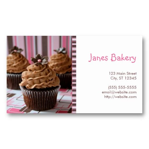 Pink brown cupcakes business card pink brown pink brown cupcakes business card wajeb Images