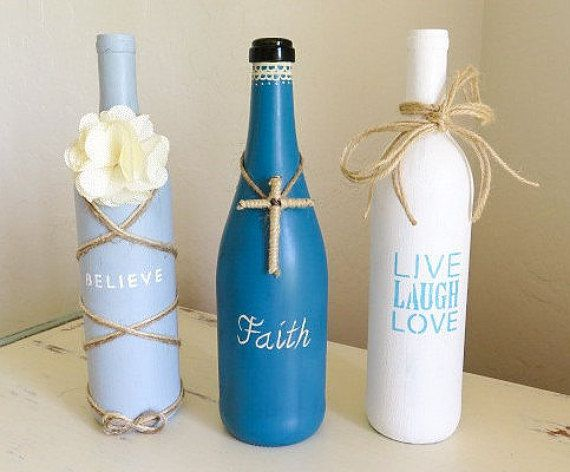 Decorative Wine Bottles Ideas Mesmerizing Recycled Wine Bottles Rustic Decor Painted Wine Bottle Vase Review
