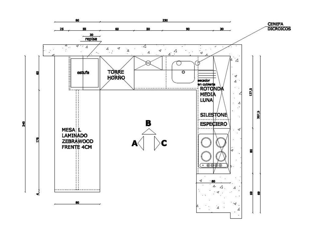Toma de medidas r c pinterest for Planos de una cocina industrial