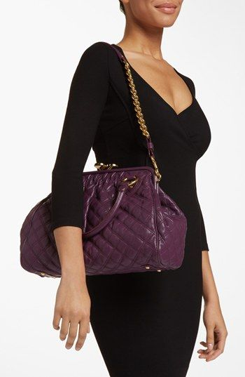 MARC JACOBS 'Quilting Stam' Leather Satchel | Nordstrom; colors: truffle; aubergine