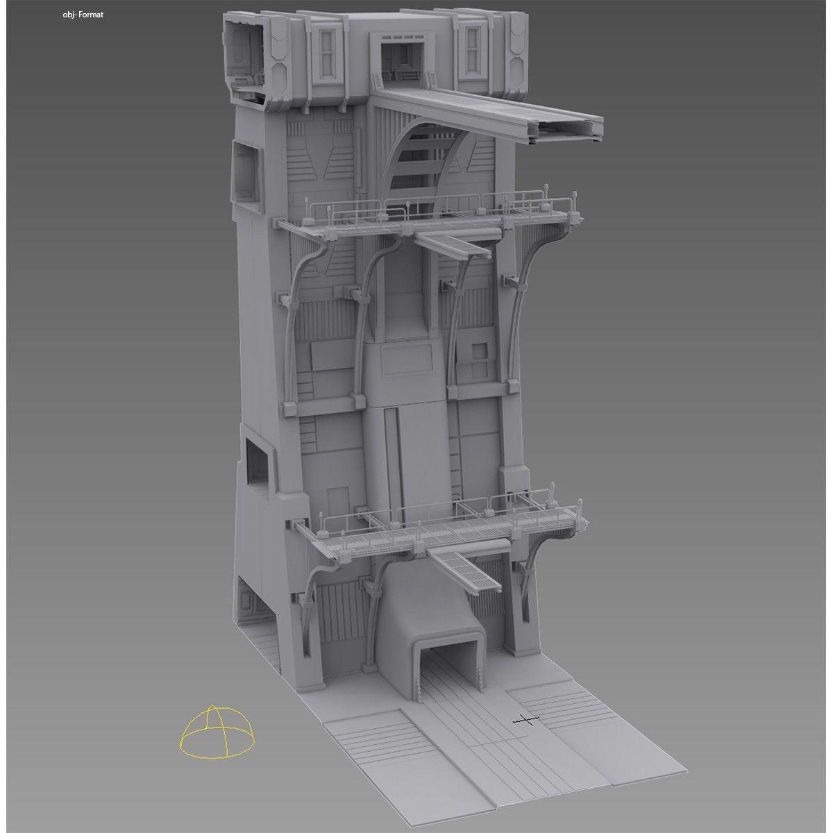 3d sci fi wall model | Mix Concept | Sci fi, 3d building