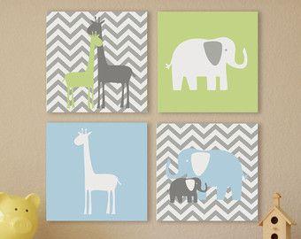 Elephants And Giraffes Chevron Canvas Children S Wall Art Nursery