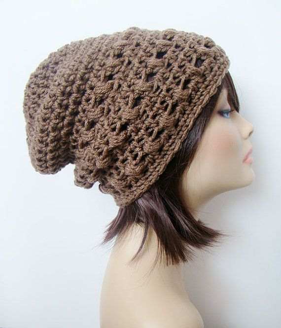 FREE SHIPPING - Textured Slouch Crochet Beanie Hat - Tan, Light ...