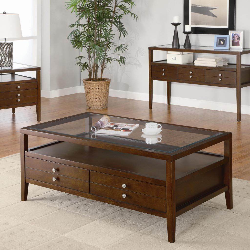 Wooden Centre Table With Glass Top Coffee Table Furniture