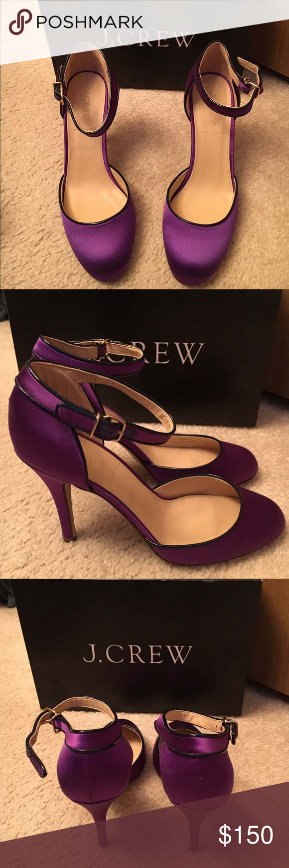 """J.Crew Ava satin pumps These are brand new heels. Never been worn, have been in the bags and in the box since I got them. I hoped to have worn them for a wedding but went with different shoes. These are so beautiful and so nice. They are satin bold purple 3 3/4"""" heels. Made in Italy. J.crew Shoes Heels"""
