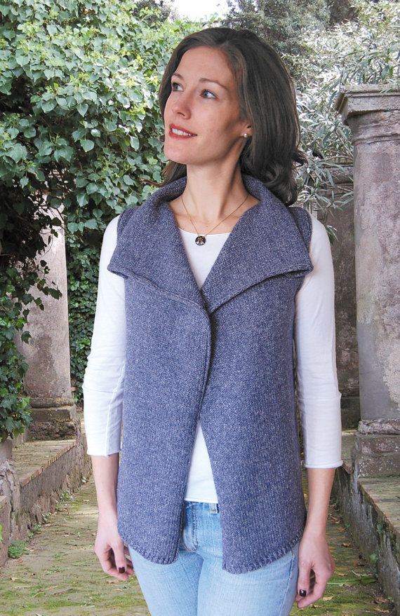 Drape Front Vest To Knit Pdf Pattern Instant Download Knitting