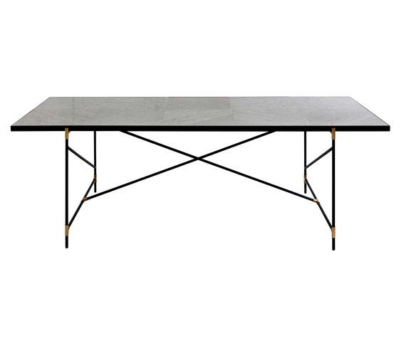 Dining Table 230 Brass On Black White Marble