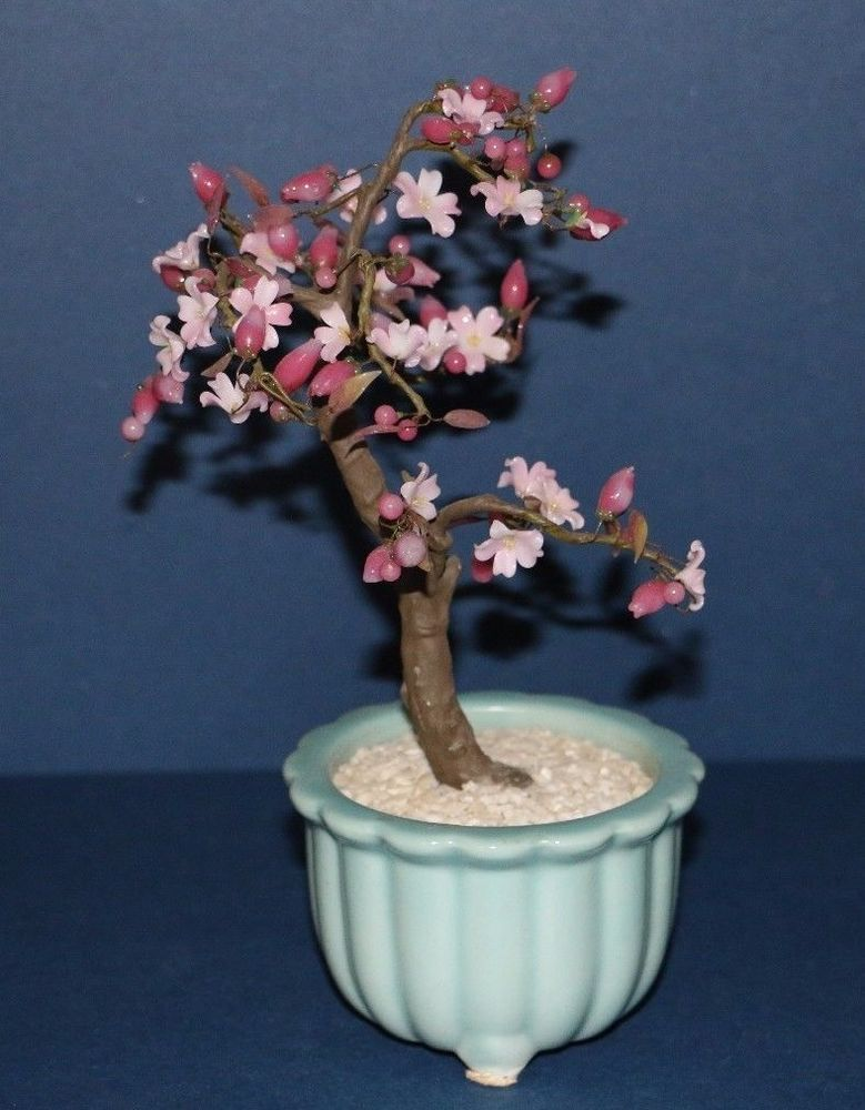 Bonsai Tree With Glass Pink And Mauve Flowers Made In Japan Cherry Blossoms Flower Making Bonsai Tree Jade Bonsai