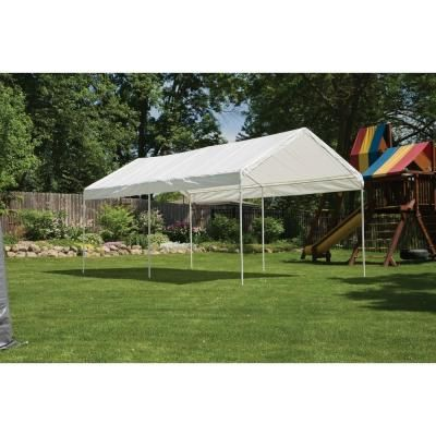 Shelterlogic 10 Ft W X 20 Ft D Max Ap All Purpose 6 Leg Canopy In White With Industrial Grade Slip Fit Steel Frame 25757 Canopy Cool Tents Temporary Shades