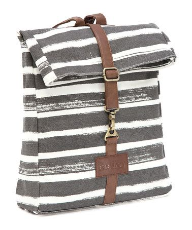 $39.99 marked down from $64! Charcoal Stripe Fold-Over Backpack #gray #backpack #zulilyfinds